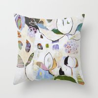 "flora bowley Throw Pillows featuring ""Letting Go"" Original Painting by Flora Bowley by Flora Bowley"