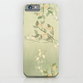 Sage Green Watercolor Woodland Leaves iPhone Case