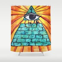 all seeing eye Shower Curtains featuring All Seeing Eye by Hallie McIntyre