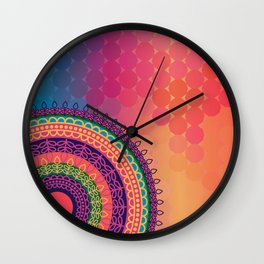 Ethnic Mandala on geometric pattern Wall Clock