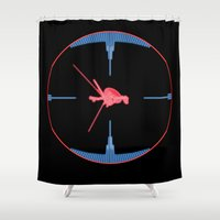 nasa Shower Curtains featuring Tie Fighter Meets NASA Voyager 1 by Ryan Huddle House of H