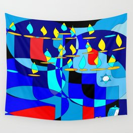 A Community Chanukah (Hanukkah) in Blue Tones with Red Wall Tapestry