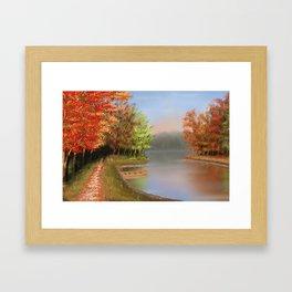 Riverside at fall Framed Art Print