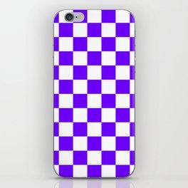 Checkered - White and Indigo Violet iPhone Skin