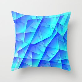 Abstract celestial pattern of blue and luminous plates of triangles and irregularly shaped lines. Throw Pillow