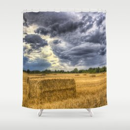 Stormy day on the farm Shower Curtain