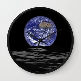Earth Rising over the Horizon of the Moon Wall Clock