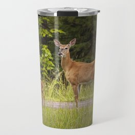 Doe and Fawn along a roadside near Iron Mountain Michigan Travel Mug
