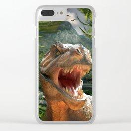 T Rex in Prehistoric Landscape Clear iPhone Case