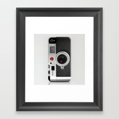 classic retro Black silver Leather vintage camera iPhone 4 4s 5 5c, ipod, ipad case Framed Art Print