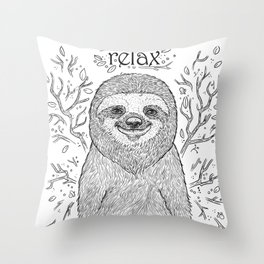 Happy and Lazy Sloth Drawing Design with Relax Text Throw Pillow