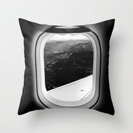 Window Seat // Scenic Mountain View from Airplane Wing // Snowcapped Landscape Photography Throw Pillow