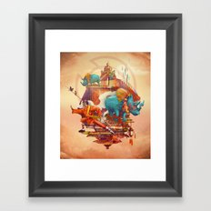 rhinos stone Framed Art Print