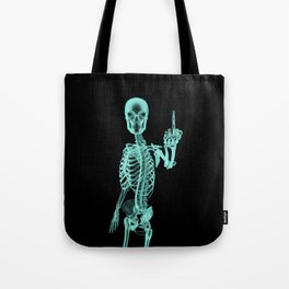 X-ray Bird / X-rayed skeleton demonstrating international hand gesture Tote Bag
