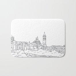 Hand drawn skyline of Citta Alta Bergamo, Italy Bath Mat