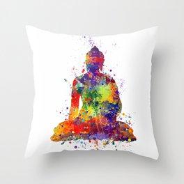 Buddha Watercolor Art Ohm Art Zen Art Meditation Gift Throw Pillow
