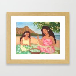 Mother & Daughter Making Leis Framed Art Print
