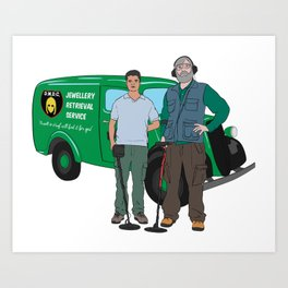 Russell & Hugh Jewellery Retrieval Service - DMDC - Detectorists Art Print