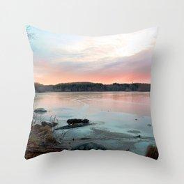Connecticut Lake Sunrise Throw Pillow