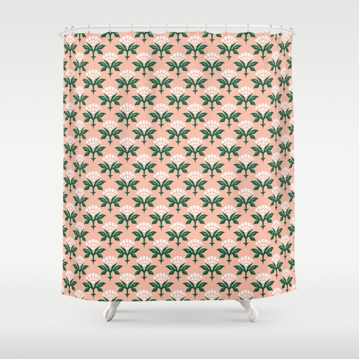 Ajrak Woodblock Floral Print Shower Curtain