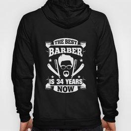 34th Birthday Present Barber 34 Years Barbershop Hoody