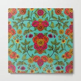 Vibrant Boho Flowers - Turquoise, Magenta, Orange & Yellow Floral Pattern Metal Print