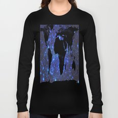 World Map : Blue Galaxy Stars Long Sleeve T-shirt