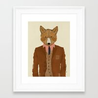 mr fox Framed Art Prints featuring mr fox by bri.buckley