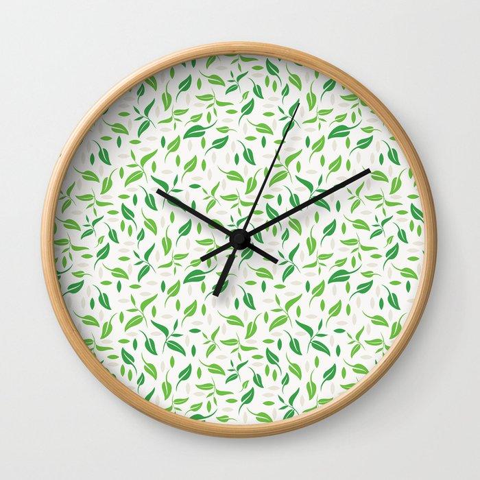 Tea Leaves Pattern Wall Clock