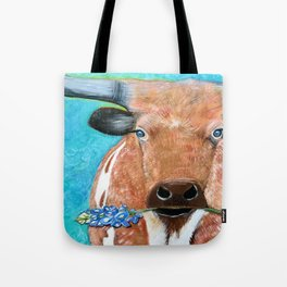 Longhorn with Bluebonnet Tote Bag