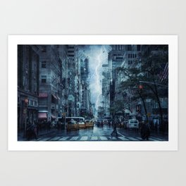 Cityscape Downtown Scene with Lightning and Rain Art Print