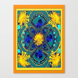 Yellow-Teal Color Geometric Western Style Floral Abstract Canvas Print