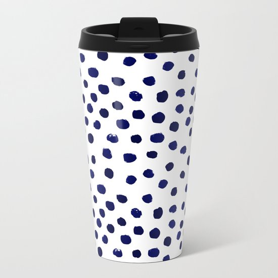Mini dots painterly brushstrokes boho modern indigo blue and white preppy nautical dorm college art Metal Travel Mug