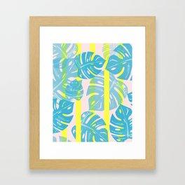 Linocut Monstera Neon Framed Art Print