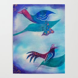 Paradise exotic birds watercolor painting Poster