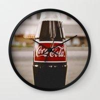 coke Wall Clocks featuring Roadside coke by Vorona Photography