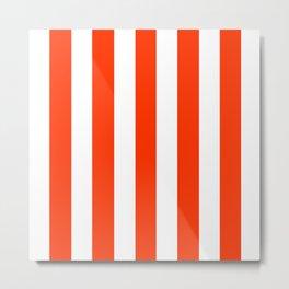 Electric orange - solid color - white vertical lines pattern Metal Print