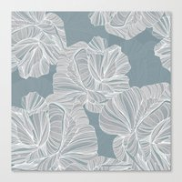 gray pattern Canvas Prints featuring Gray Roses Pattern - Blue  by Sweet Karalina