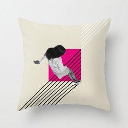 Geometric Falling Girl Graphic Throw Pillow