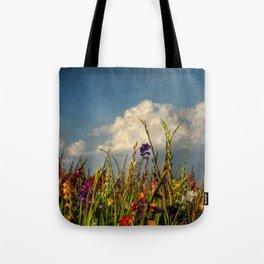 colored swords - field of Gladiola flowers Tote Bag