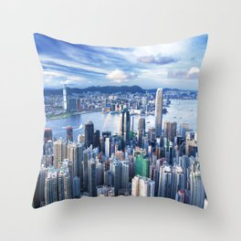 Hong Kong-Buildings Throw Pillow