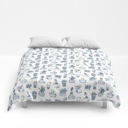 Blue Inky Cacti Comforters