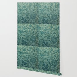 art Nouveau,teal,William Morris style, floral,chic,elegant,modern,trending,victorian decor,floral pa Wallpaper