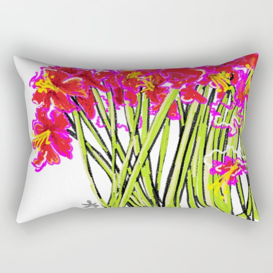 Red Flowers again, Hybiscus Rectangular Pillow
