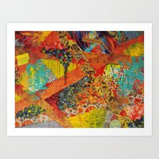 Pieces of Me - Gorgeous Bold Fabric Painting Collage Love Colorful Rainbow Yellow Red Stripes Floral Art Print