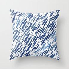 Boho Blue Brushstroke Throw Pillow