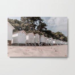 White little houses on the beach   France Metal Print