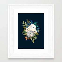 Midnight Florals - Blue & Cream Framed Art Print
