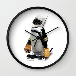 Little Mascot Hockey Player Penguin Wall Clock