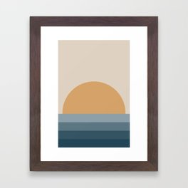 Minimal Retro Sunset / Sunrise - Ocean Blue Framed Art Print